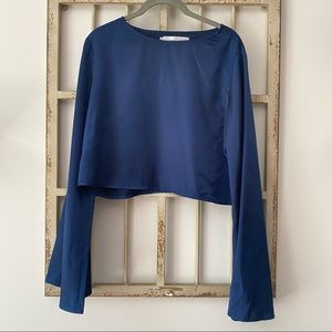 Oh My Love Blue Satin Cropped Bell Sleeve Top